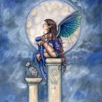 """Indigo Moon Fairy and Cat Fantasy Art Print by Mol"" by robmolily"