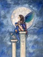 Indigo Moon Fairy and Cat Fantasy Art Print by Mol