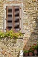Brown Wood Window Shutters with Flowers