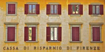 Weathered Windows with Red Shutters of Florence