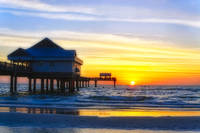 Pier on the Beach at Sunset, Clearwater, Florida