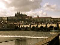 View of Tyn Church across Vltava River