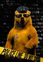 Police Officer Bear - Painting by Abie Davis (The