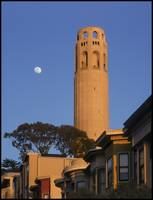 Coit Tower with Moon, Telegraph Hill San Francisco