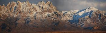 Organ Mountains of NM with a mantle of snow.