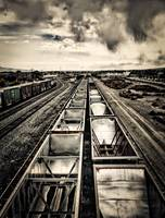 Empty coal cars