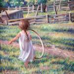 """Girl Running with Hoop"" by mariewitte"