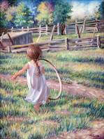 Girl Running with Hoop