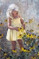 Yellow Dress and Coneflowers