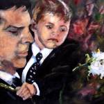 """White Roses for Haley Painting of Hotch and Jack"" by GinetteCallaway"