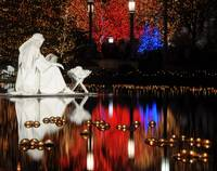 Water Nativity Scene at Night