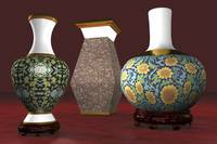 Asian Vases Deco - 3D Model