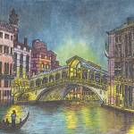 """Rialto Bridge at Nite on the Grand Canal in Venice"" by loracnabru"