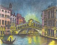 Rialto Bridge at Nite on the Grand Canal in Venice