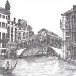 """Rialto Bridge  bw in Venice Italy"" by loracnabru"