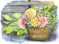 Marias Basket of Peonies