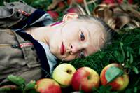 the girl in the apples