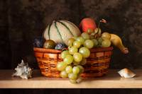 Fruit basket and shells