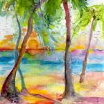 """Pink Sands and Palms Island Dreams Watercolor"" by GinetteCallaway"