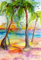 Pink Sands and Palms Island Dreams Watercolor