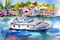 Yachting off the coast of Amalfi Italy Watercolor