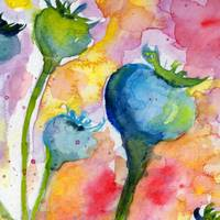 Blue Poppy Pods Square Format Watercolor
