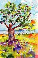 Grandma's Apple Tree Watercolor by Ginette