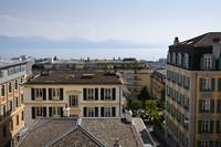 Lausanne city center and lake