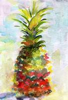 Pineapple Tropical Fruit Still Life Watercolor