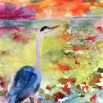"""Blue Heron Sunset Watercolor by Ginette"" by GinetteCallaway"