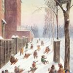 """View of Children Sleighing down a hill, Montreal"" by heritagefine"