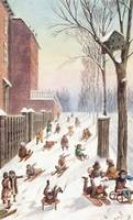 View of Children Sleighing down a hill, Montreal