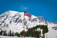 American Flag and View of Mt. Rainier