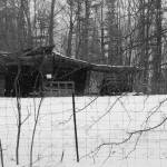 """Black and white shed in the snow"" by Swmr152974"
