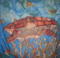 Sea turtle landscape on silk