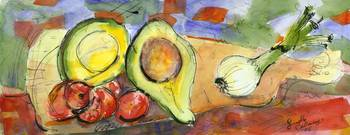 Avocado Onion and Radishes Watercolor Painting