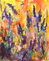 Summer Lavender watercolor and Ink by Ginette