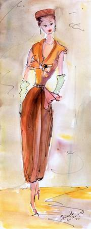 Girl With Pillbox Hat Vintage Fashion Watercolor