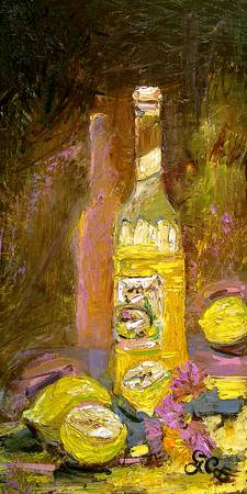 Limoncello Still Life in Oil by Ginette