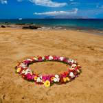 """Circle of flowers on the beach 18228"" by RJ"