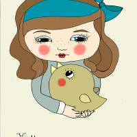 girl and bird Art Prints & Posters by juliane mertens-eckhardt