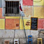 """colored wall with chairs in Lisbon"" by AlexanderWunsch"