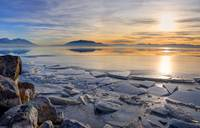 Icy Winter Sunset on Utah Lake