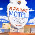 """Painting Of Retro Neon Apache Motel Sign On Route"" by KeatingArt"