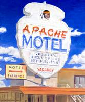 Painting Of Retro Neon Apache Motel Sign On Route