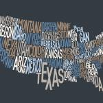 """United States Text Map"" by ModernArtPrints"