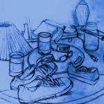 """""""all on the table (light blue)"""" by alansmithart"""