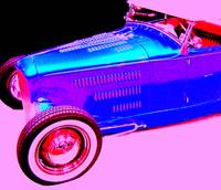 Blue Roadster On Pink