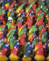 Brightly Coloured Balsa-wood Parrots, Ecuador