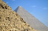 Pyramids of Cheops and Chephren in Giza near Cairo